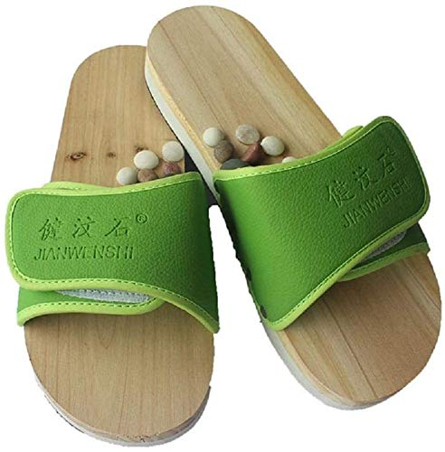 XHDMJ Portable De Haute Qualité Cailloux Massage Pantoufles Pieds Points D'Acupuncture Chaussures De Santé Couple Massage des Pieds Thérapie Magnétique Massage Chaussures De Maison, Vert, 36, Vert, 3