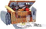 NKTJFUR Cesta de picnic Willow, cesta de picnic para 4, cesta de picnic con manta, utensilios de picnic, juego de cubiertos de picnic, juego de cubiertos de picnic, mango fácil de transportar