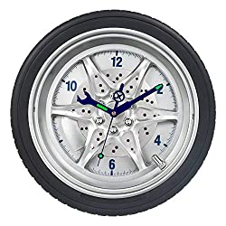 Garage Wall Clocks, Tire Rim Clock with Luminous Wrench, Silent Battery Operated Rubber Gear Decorative Clock for Automotive Mechanic Shop, Man Cave, Car Enthusiasts & Boys Bedroom- 14 Inch, Wheel