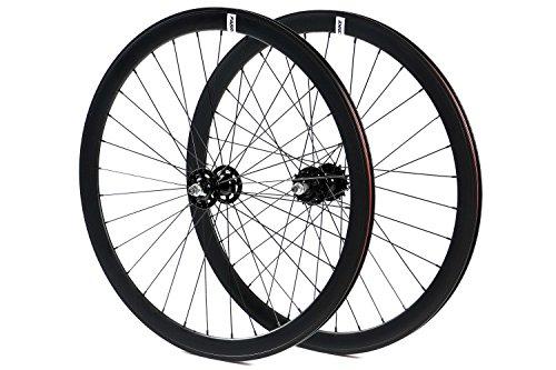 FabricBike - Set Fahrrad Felgen 700X25 C, Flip Flop Hubs, Fixed Gear, Single Speed (Black)