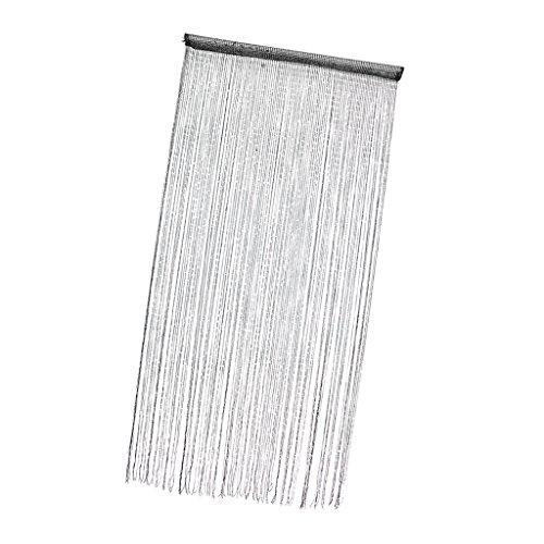 D DOLITY Glitter Quaste Fadenvorhang Fadengardine Raumteiler für Balkontür Wohnzimmer - Schwarz