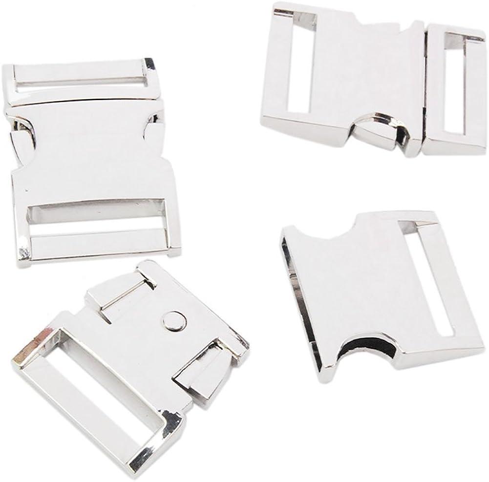 Side Release Buckle Metal Silver Pets Collar Harness Webbing Str