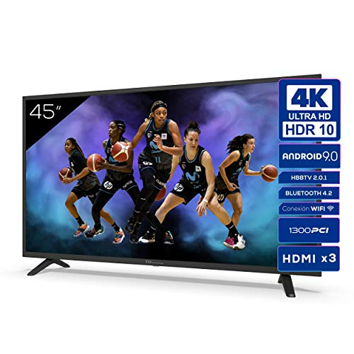 Televisiones Smart TV 45 Pulgadas 4k UHD Android 9.0 y HBBTV, 1300 PCI Hz, 3X HDMI, 2X USB. DVB-T2/C/S2, Modo Hotel - Televisores TD Systems K45DLJ12US