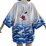 OMKMNOE Japanischer Kimono Sommer Kleidung, Traditionelles Haori Fasergewebe Kostüm Robe Überjacke Sonnenschutz Jacke Antiker Stil Nachthemd Bademantel Komfortabel,Weiß