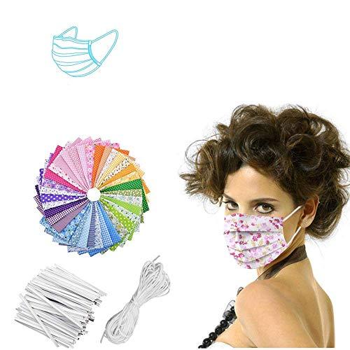 HSKB DIY Material Set mit Nasenbügel Nasenbügel für Mundschutz Biegsamen Draht zum Fixieren/mit Baumwoll Material mit Gummiband Nähen Elastik Kordel für Anfänger DIY Handwerk