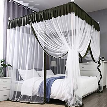 Mengersi Simple 4 Corners Post Curtain Bed Canopy Bed Frame Canopies Net,Bedroom Decoration  Full Olive and White