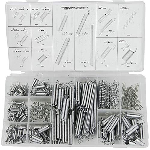 Tiberham Feder-Sortiment, 200 Stück, sortierte Verlängerungs- und Kompressionsfedern, verzinktes Metall, Spannfeder-Set mit tragbarer Aufbewahrungsbox