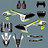 Motocross Gráficos Pegatinas Calcomanías Kits para Husqvarna TC FC 2016 2017 2018 TX FX FS FOR Husqvarna TE FE 2018 2018 2019 2019 Decoración de Motos (Color : Black)