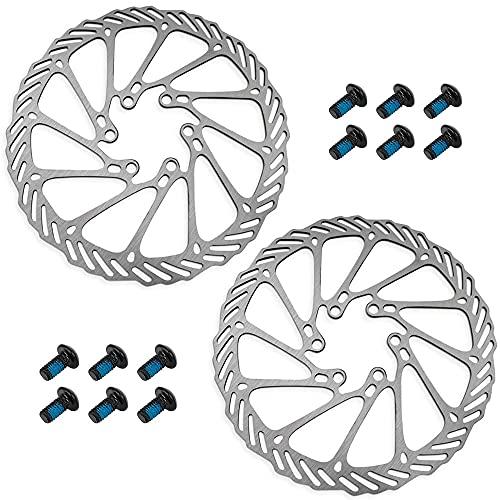 2 Piezas Disco de Freno de Acero Inoxidable, Discos de Freno de Bicicleta, Rotor de Freno de Disco Bicicleta, 180 mm con 12 Tornillos, para Bicicleta de Montaña, Carretera, MTB, BMX