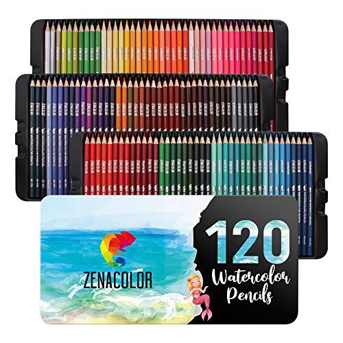 120 Crayons Aquarellables, Numérotés Zenacolor - Set de Crayon de Couleurs Aquarelle - Boîte 120 Crayon de Couleurs Professionnel, Solubles et Différents