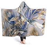 KENDIA Vintage lila Blume Kapuze Decke Sherpa Decke mit Einer Kapuze Kapuze Throw Wrap Super Soft Snuggle Decke