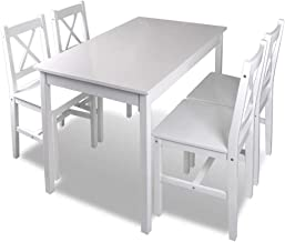 vidaXL 5 Piece Dining Set White Home Kitchen Furniture Lacquered Table Chairs