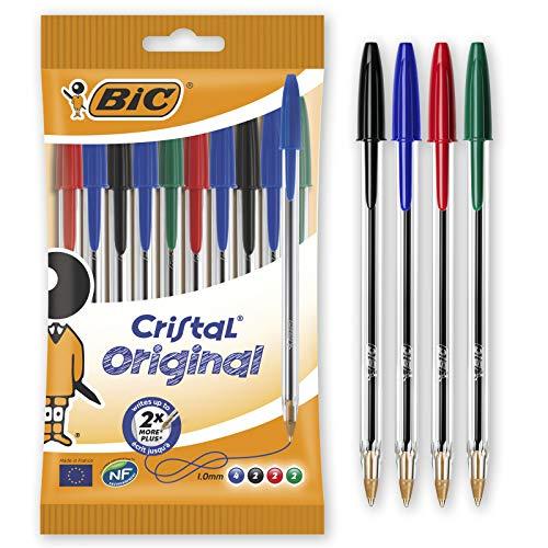 BIC Penne a Sfera, Cristal Original, Colori Assortiti, Punta Media (1,00 mm), Pacco da 10 Penne, per Scrivere a Scuola e a Casa