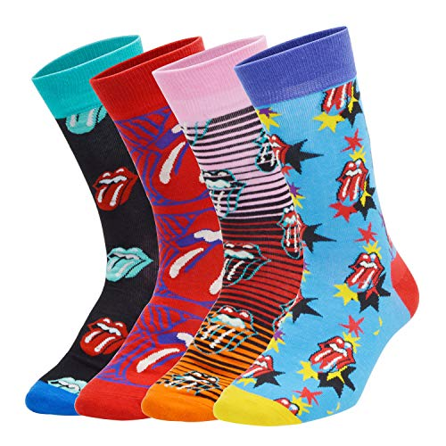 Pacrate 4 Paar The Rolling Stones Hohe Socken Herren 43-46 Bunt Gemusterte Socken Gekämmte Baumwolle Neuheit Sneaker Socken Kuschelsocken Freizeitsocken