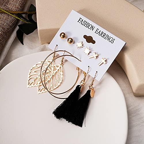 FEARRIN Pendientes Pendientes de Mujer inusuales de Moda Set Pendientes de aro de Perlas acrílicos para Mujer Pendientes de Borla Bohemios Joyas Kolczyki geométricas Gold243