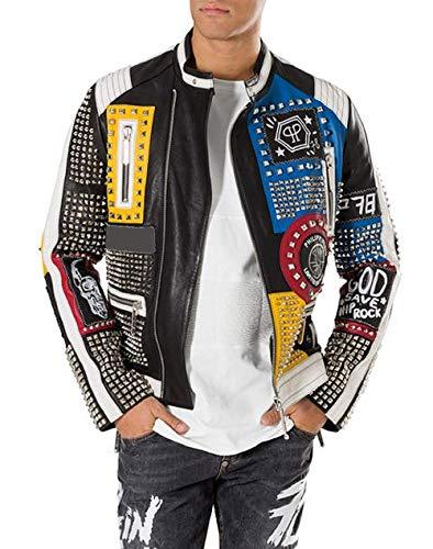 Cappotto in pelle punk rock multi colore borchiato ricamo patch giacca per gli uomini Giacca in vera pelle con borchie multicolor S