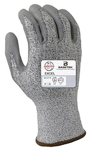 Armor Guys 02-013 (L) 1 Excel, 13 g, Basetek Liner, Polyurethane Palm Coating (One Pair), L, Gray