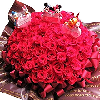 プロポーズ 彼女 ミッキー ミニー ドナルド デージー プーさん ピグレット 花束風 赤バラ 108本 プレゼント プリザーブドフラワー 108本使用 ケース付き