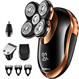 Head Shaver, ERADREAM Electric Razor for Bald Men 4 in 1 Electric Shaver 5D Floating USB Rechargeable Nose Hair Shaver 100% IPX7 Waterproof Wet Dry Shave, Rose Gold