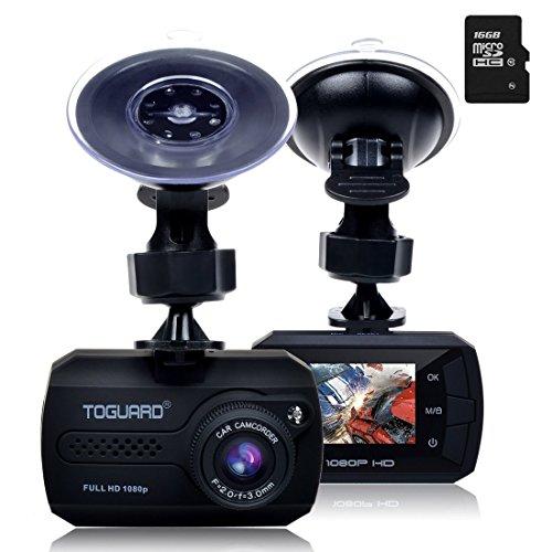 TOGUARD Mini Full HD 1080p Coche Dash Cam DVR Integrado En Salpicadero Cámara G-sensor Grabadora De Detección De Movimiento, Visión Nocturna