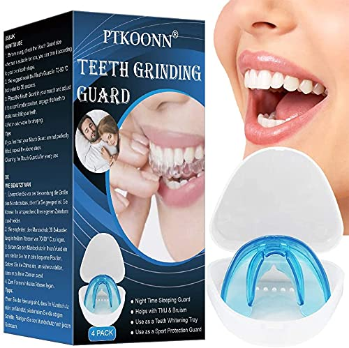 Protector dental,Kit de Protección Dental,Anti bruxismo,Ferula dental para bruxismo,Protector Bucal Cuidado Dentadura Ferula Dental,Protector dental para evitar el rechinamiento (x 4)