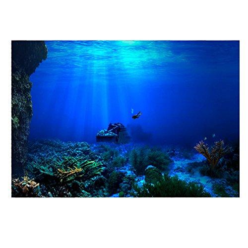 Acquario Sfondo HD Sottomarino Coral Reef Foto Carta da Parati Acquario Pesce Mare Murale XXL Sottomarino Underwater Mondo Decorazione della Parete(91 * 41cm)