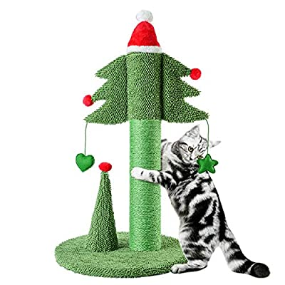 BOLUO Christmas Tall Cat Scratching Post for Adult Large Cats Scratcher Tree Cute Kitten Kitty Sisal Scratch with Teaser Ball Indoor Toy 31 inch