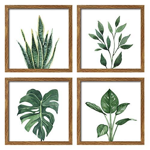 ArtbyHannah 10x10 Inch 4 Panels Botanical Framed Walnut...