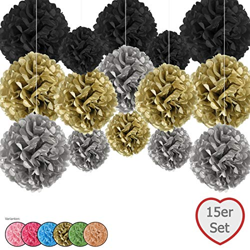Rosa&Gold Juego de 15 Pompones de Papel de Seda, Incluye Cintas de Raso (Cada una de 1,20 m), Incluye Paquete de Regalo, con Instrucciones en alemán (Oro, Plata, Negro)