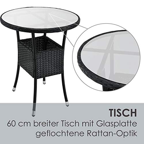 ArtLife Polyrattan Balkon Set Bayamo 2 Personen – Tisch mit Glasplatte & 2 Stühlen – Wetterfeste Balkonmöbel – Auflagen waschbar – schwarz - Creme - 6