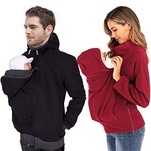 YOUSIOI 2PCS Winter Baby Carrier Hoodie Maternity Kangaroo Hooded Sweatshirt with Side Zipper, Removable Kangaroo Coat, for Baby Carriers (Black+Red, XL)