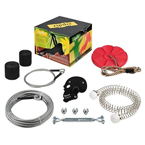 "Zipdiz 65ft 85ft 100ft Zipline, Backyard Zipline Kit with 5.9ft Spring Brake and Seat, Zip Line Kits with 2 Tree Protectors, Zipline for Backyard with 1/4"" Cable, Up to 350lb(100 FT)"