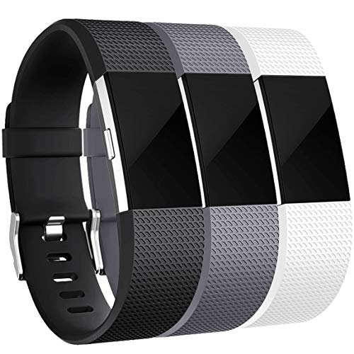 Maledan Bands Replacement Compatible with Fitbit Charge 2, 3-Pack, Large Black/Gray/White