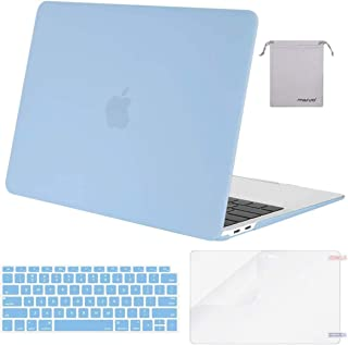 MOSISO MacBook Air 13 inch Case 2019 2018 Release A1932 with Retina Display, Plastic Hard Shell & Keyboard Cover & Screen Protector & Storage Bag Compatible with MacBook Air 13, Airy Blue