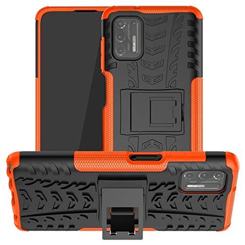 Yhuisen Patrón de Textura Dual Capa Hybrid Armor Kickstand Funda a Prueba de Golpes para Motorola Moto G Stylus (2021) (Color : Naranja)