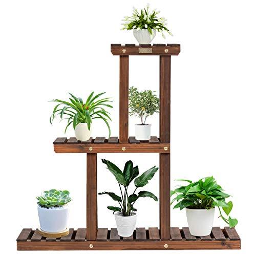 COSTWAY Soporte para Plantas de Madera de 3 Niveles Eestantería para Flores Estante Escalera de Macetas para Jardín Balcón Interior Exterior