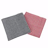 GERINLY Gingham Cotton Bandana Grid Head Scarf Plaid Face Cover 2 PCS Square Hair Tie Small Cowboy Neckerchief Hanky (Red&BlackGingham)