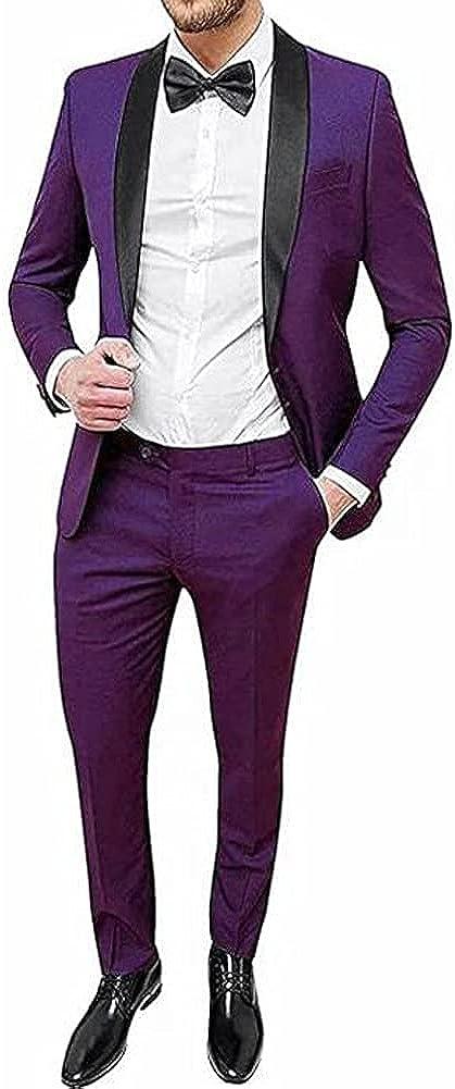TOPG Men's One Button Business Suits 2 Pieces Slim Fit Wedding Formal Suits Dress Pant Set