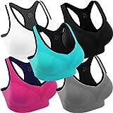 Women Racerback Sports Bras High Impact Workout Yoga Gym Fitness Bra (Black+Grey+Blue+White+Pink, 3X-Large)