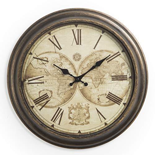Orologio da Parete in PVC Silenzioso Stile Vintage Mappamondo Numeri Romani 40X5X40 cm