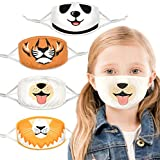 100% Organic Cotton Kids Washable, Reusable Face Masks with Adjustable Ear Loops for Children 6-12 yrs. Two Layers of Soft, Protective Fabric for Boys and Girls. (Panda, Dog, Tiger, Lion, 4 Pk)