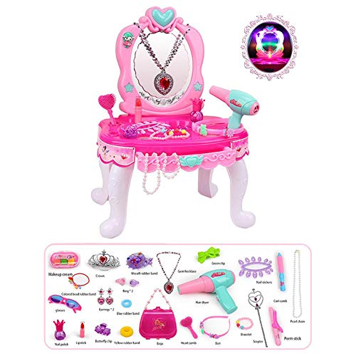 PIONIN Makeup Set for Children Kommode Spielzeug Set Make-up Tisch Set Pretend Play Toy Mädchen