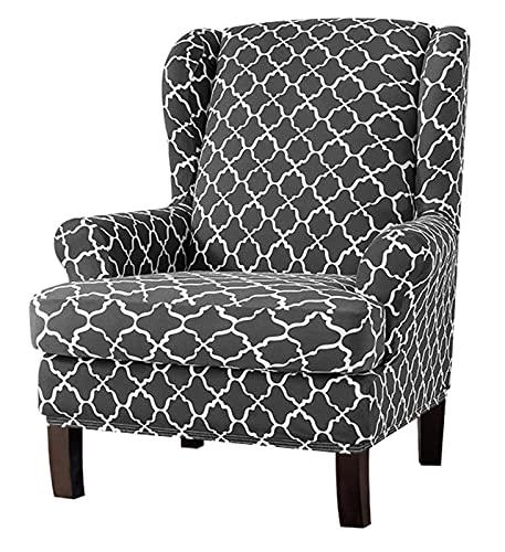 Sofa Slipcovers,Wingback Chair Schonbezug für Sessel Sofa 2 Stück Ohrensessel Cover Spandex Elastische Slip Cover Muster für Möbel Protector Im Wohnzimmer Grau