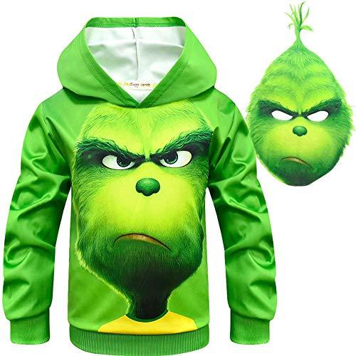 KIDSHOODIE Kinder Hoodie Grinch Langarm-Baumwoll-Pullover Tops Kinder Cartoon Animal Prints Pullover Pullover Für Kinder Green-120cm