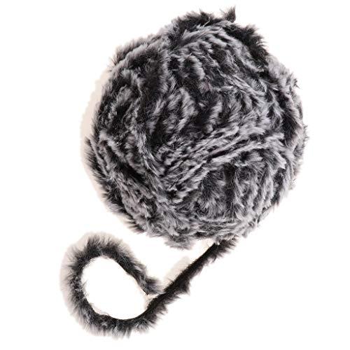B Baosity Strickgarn mit Fransen, Fransengarn Fransenwolle Effektgarn Wolle Fellwolle zum Stricken und Häkeln - Schwarzgrau