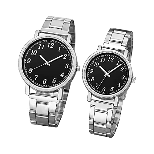 RTUQ Par de relojes de cuarzo, pulsera de acero con cronógrafo, regalo para el día de los enamorados, longitud de la pulsera para hombre: 245 mm, longitud de la pulsera para mujer: 235 mm., a,