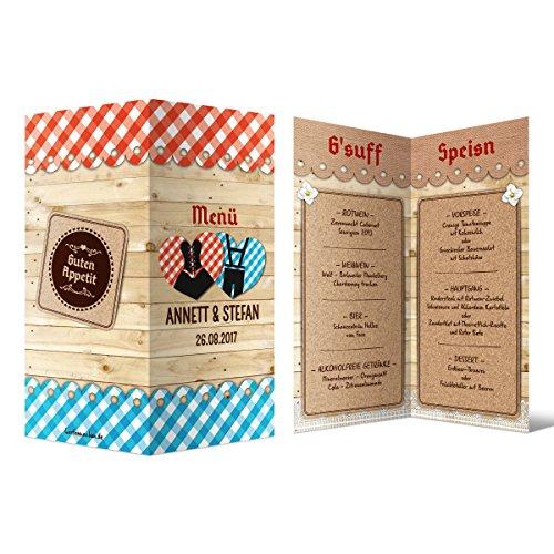 Menükarten Hochzeit (20 Stück) - Bayern Herzen Dirndl und Lederhose - Speisen Getränke Menü
