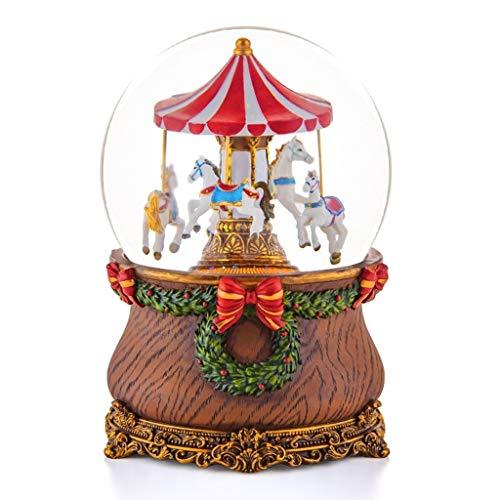 Cajas Musicales Crystal Caja de música de la Bola con el carrusel, decoración del hogar del Ornamento, Regalos creativos for Navidad/San Valentín/cumpleaños, romántico, Nieve Decoración del hogar