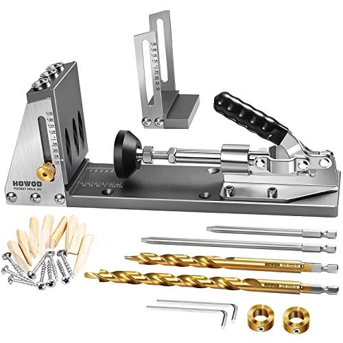 HOWOD Pocket Hole Jig Kit, Professional and Upgraded All-Metal Pocket Screw Jig.