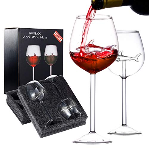 HOMEACC Shark Wine Glass Set of 2 with Box,Crystal Flutes Goblets Red...
